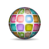 Sphere with media icons Royalty Free Stock Images
