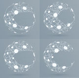 Sphere mesh with bubbles. Abstract geometric shape Stock Image