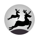 Sphere with monochrome reindeer jumping Stock Photo