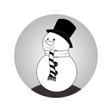 Sphere with monochrome snowman with scarf Stock Photos