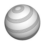 Sphere with a musical camp, 3d, it is isolated Royalty Free Stock Image