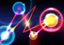 Free Sphere, Neon Light And Laser On Background. Futuristic Interface. Virtual Reality Technology Screen. Vector Illustrator Stock Photography - 220977662
