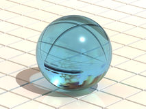 Sphere on a plane. 3d Very beautiful three-dimensional illustration, figure Royalty Free Stock Photo