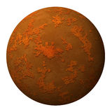 Sphere or planet with rusty textured surface Stock Image
