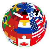 Sphere from a puzzle with images of country flags Royalty Free Stock Images