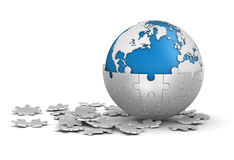 Sphere Puzzle and World Map Stock Images