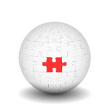 Sphere of puzzles with red element Stock Images