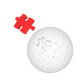 Sphere of puzzles and red element Royalty Free Stock Photography