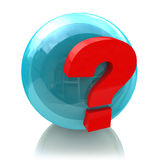 Sphere and question mark. At registration information related to unresolved issues Stock Image