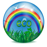 Sphere with a rainbow and grass Royalty Free Stock Images
