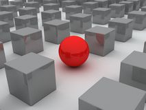 Sphere red 3d. Row cube and sphere (done in 3d Stock Photography