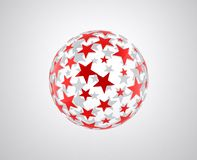 Sphere with red star pattern Royalty Free Stock Photos
