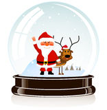 Sphere with Santa Claus and a deer Royalty Free Stock Images