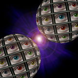 Sphere of screens with multi-colored eyes Stock Image