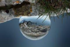 Sphere shot of Capri island from Monte Solaro. Shot of the reflection of the italian island Capri into a small glass sphere Stock Photos