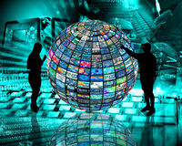 Sphere and silhouettes Royalty Free Stock Image