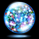 Sphere with sparkles in light blue colors. Light blue glass sphere filled with multicolored glowing sparkles with bokeh effect. Sphere with colored sparkles Royalty Free Stock Image