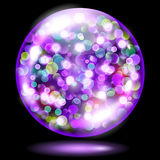 Sphere with sparkles in violet colors. Violet glass sphere filled with multicolored glowing sparkles with bokeh effect. Sphere with colored sparkles, glares and Royalty Free Stock Photo