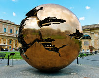 The Sphere within a Sphere, a bronze sculpture by Italian sculpt Royalty Free Stock Photo