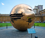 The Sphere within a Sphere, a bronze sculpture by Italian sculpt Royalty Free Stock Photography