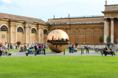 Sphere within sphere at Cortile della Pigna Stock Images