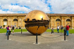 Sphere within sphere at Cortile della Pigna Stock Image