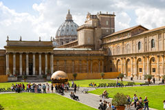 Sphere within sphere in Courtyard of the Pinecone at Vatican Museums. Stock Images