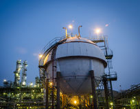 Sphere tank gas petrochemical plant Royalty Free Stock Images
