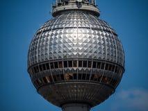 The sphere on top of Fernsehturm in Berlin. Close-up of a sphere on tho of TV Tower (Fernsehturm) on Alexanderplatz in Berlin-Mitte Stock Image