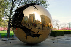 Sphere at United Nations, New York. Reflections in the Sphere within a Sphere by Arnaldo Pomodoro at the United Nations New York. Photo taken at 23rd of April royalty free stock photos