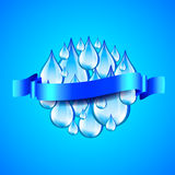 Sphere from water drops and ribbon for text, blue background Stock Photos