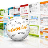 Sphere with web design templates. White Ball with web design text imprint in front of a template wall vector illustration
