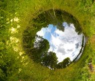 Sphere world. Environment protection concept and life metaphoric image. Sphere view of meadow, river, and forest Stock Photography