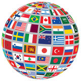 Sphere with world flags Stock Photos