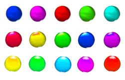 Spheres. Diffrent colors on white background Royalty Free Stock Photos