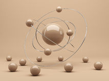 Spheres 3d. Interaction. Abstract background Royalty Free Stock Images