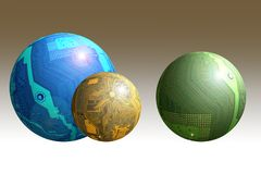 Spheres. Made from circuit boards Royalty Free Stock Photo