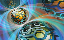 Spheres and Arcs. Colorful background contains a lot of transparency effects Stock Photography