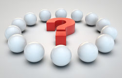 Spheres around question mark Stock Photo