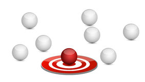 Spheres around a target. illustration design Stock Image