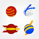 Spheres and Arrows Logos Set - Stock Vector. Stock Image