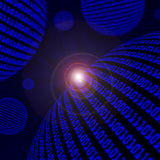 Spheres of blue binary code Stock Images