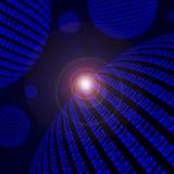 Spheres of blue binary code stock illustration