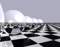 Spheres and chess 2. Reflective spheres on a chess floor Royalty Free Stock Images