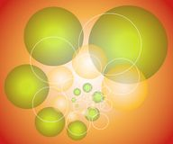 Spheres Circles Background 2. A background pattern of spheres, circles, or bubbles and rings in green red and gold colors Royalty Free Stock Photo