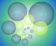 Spheres Circles Background. A background pattern of spheres, circles, or bubbles and rings in blue and green colors Royalty Free Stock Photos