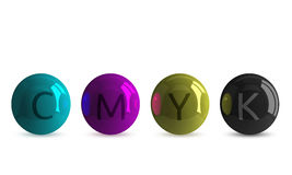 Spheres of CMYK colors with letters Stock Images
