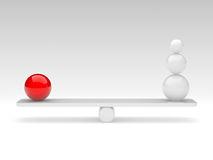 Spheres compare (balance concept). The spheres in balance. 3d rendered illustration Stock Photography