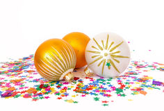 Spheres and confetti Royalty Free Stock Images