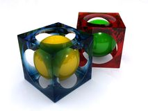 Spheres in cubes. Glossy yellow and green spheres inside of red and blue transparent cubes on a white background Stock Photos